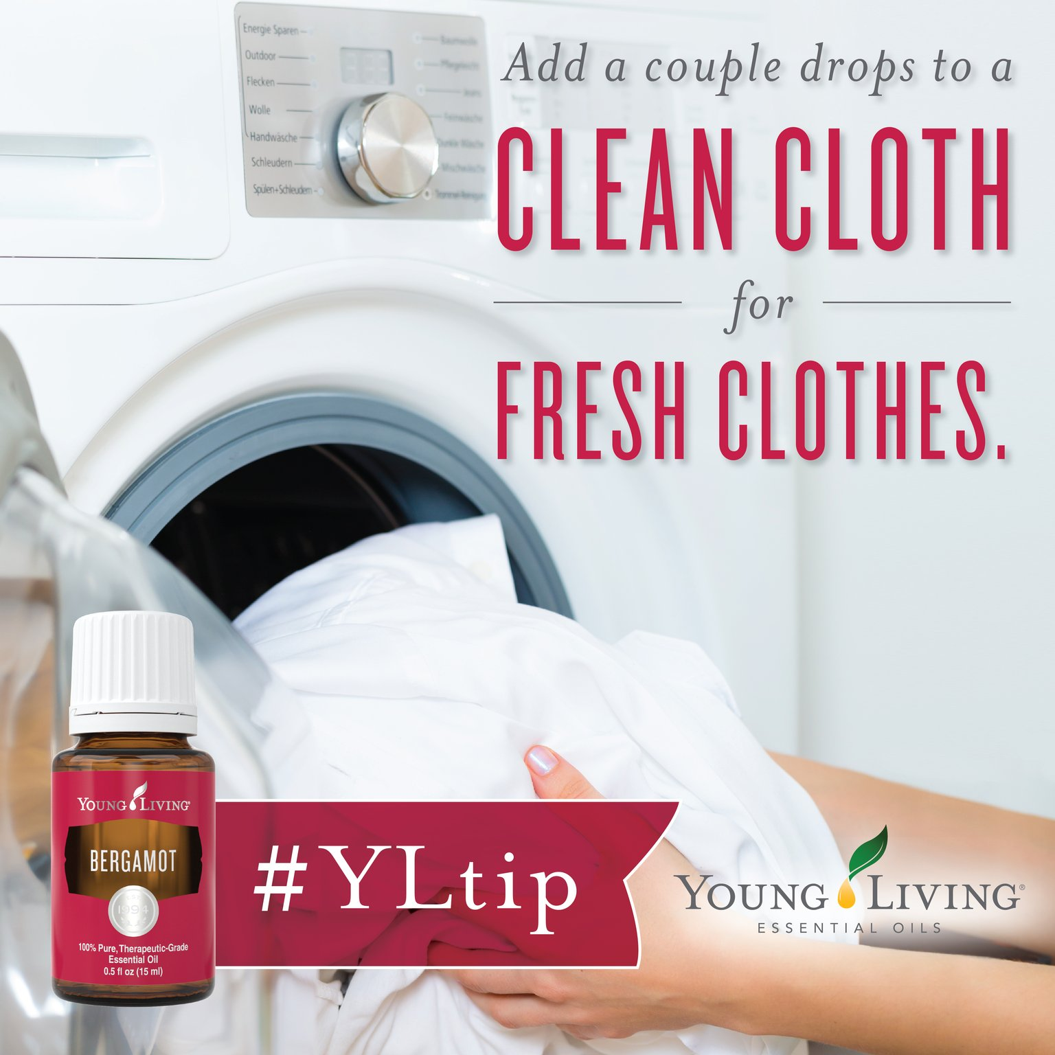 Add a few drops of #essentialoil on a clean washcloth and toss it in the dryer along with your clothes. #YLtip https://t.co/mW5rjH21K6