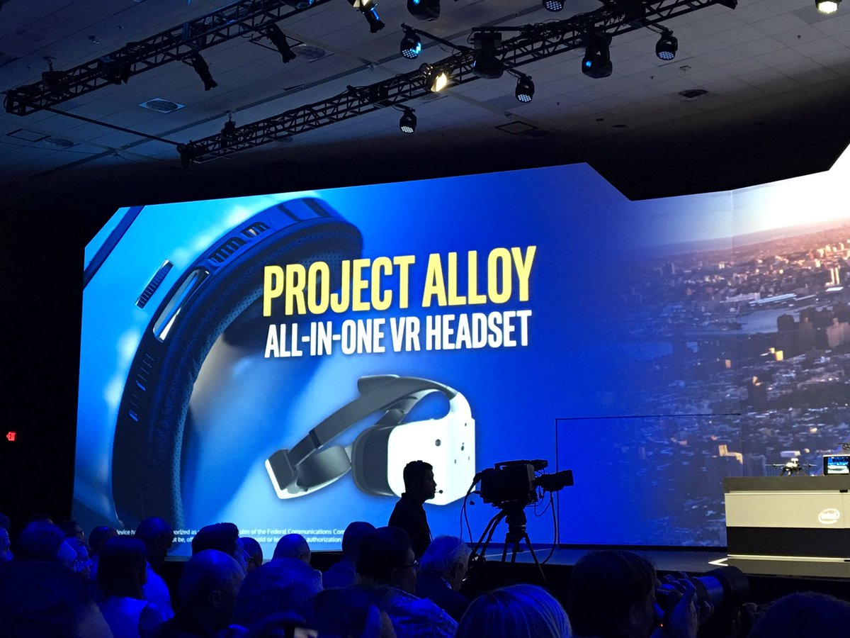 BOOM! Intel has their own merged reality HMD, called Project Alloy. Untethered. RealSense. Large.  #IDF16 https://t.co/RItPrm7Mdg