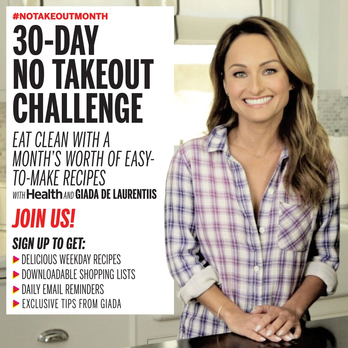 Eating clean is easy! Sign up for our FREE NoTakeoutMonth Challenge with @GDeLaurentiis!