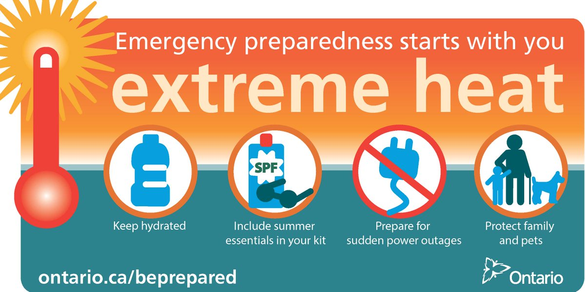 Avoid strenuous exercise & activity in the extreme heat during the hottest part of the day. #ONready #HeatWarning https://t.co/Qt6X4r14kz