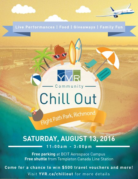 RT @MyVancouver: The First-Ever YVR Community Chill Out is Happening August 13! cc: @yvrairport