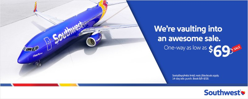 We're racing down the runway with $69 one-way sale fares to incredible destinations!