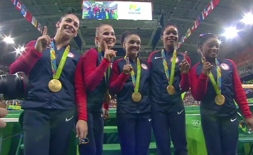 USA's #FinalFive know they are #1! Love those ladies! Way to go!  #USA #gold #Rio2016 #USAGymnastics https://t.co/wmmSu5MMNn