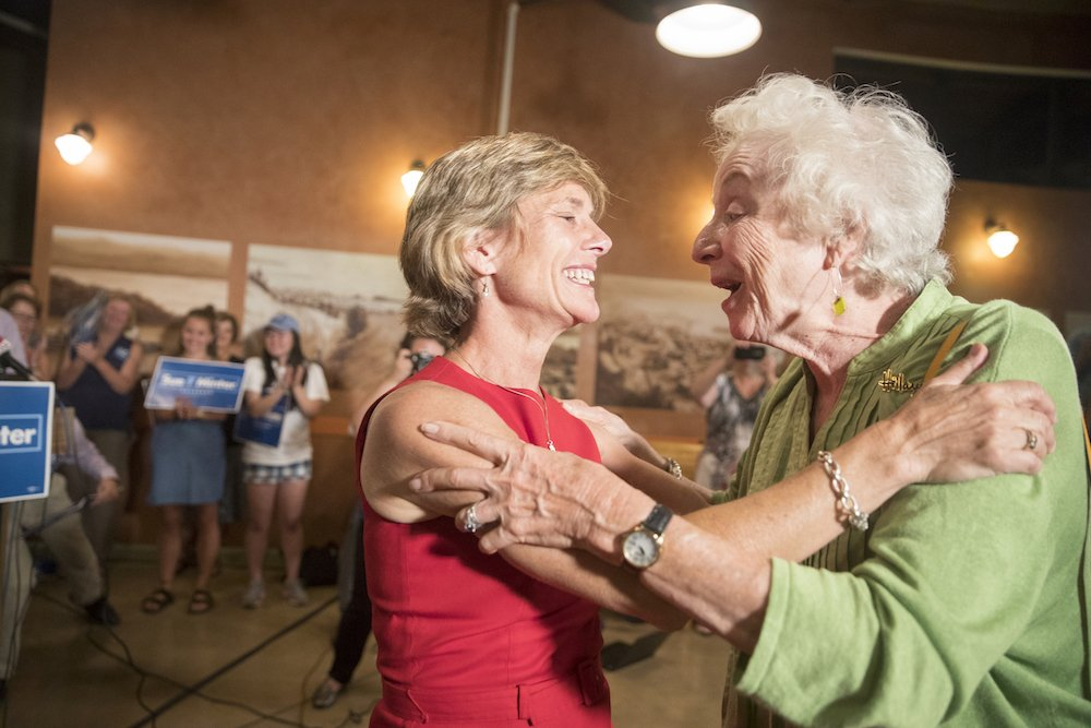 Here's former Vermont gov. @MadeleineKunin congratulating @SueMinterVT on her primary win. Photo: @jamesbuck #vtpoli https://t.co/KYM1zBgnDD