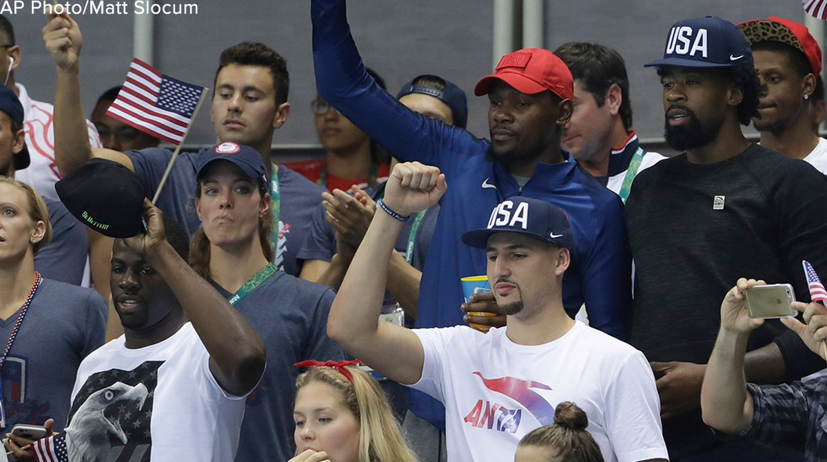 Multiple members of the US men's basketball team were on hand to support US swimmers tonight