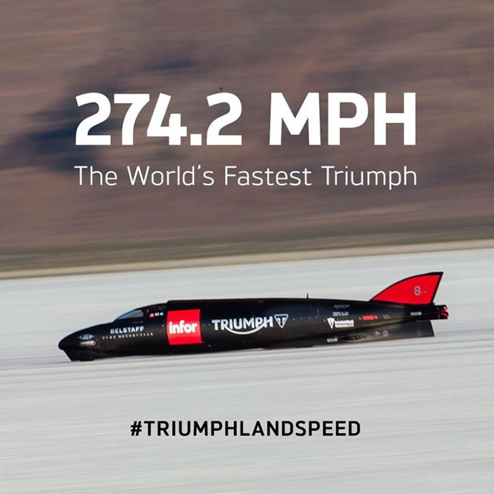 The Triumph Infor Rocket Streamliner has become the worlds fastest ever Triumph! #triumphlandspeed #fortheride https://t.co/XJJJH96kQ1