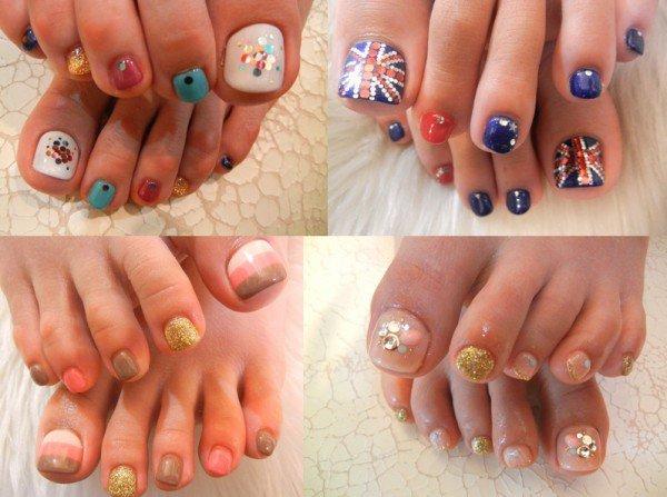 Шеллак ногтей с рисунками на ногах