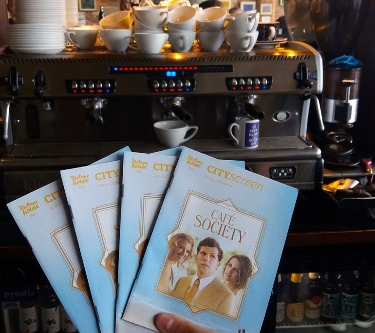 Jesse Eisenberg joins the Café Society in the Riverside Bar.  New @CityScreenYork brochures now in! https://t.co/Fjs7zSCI8U