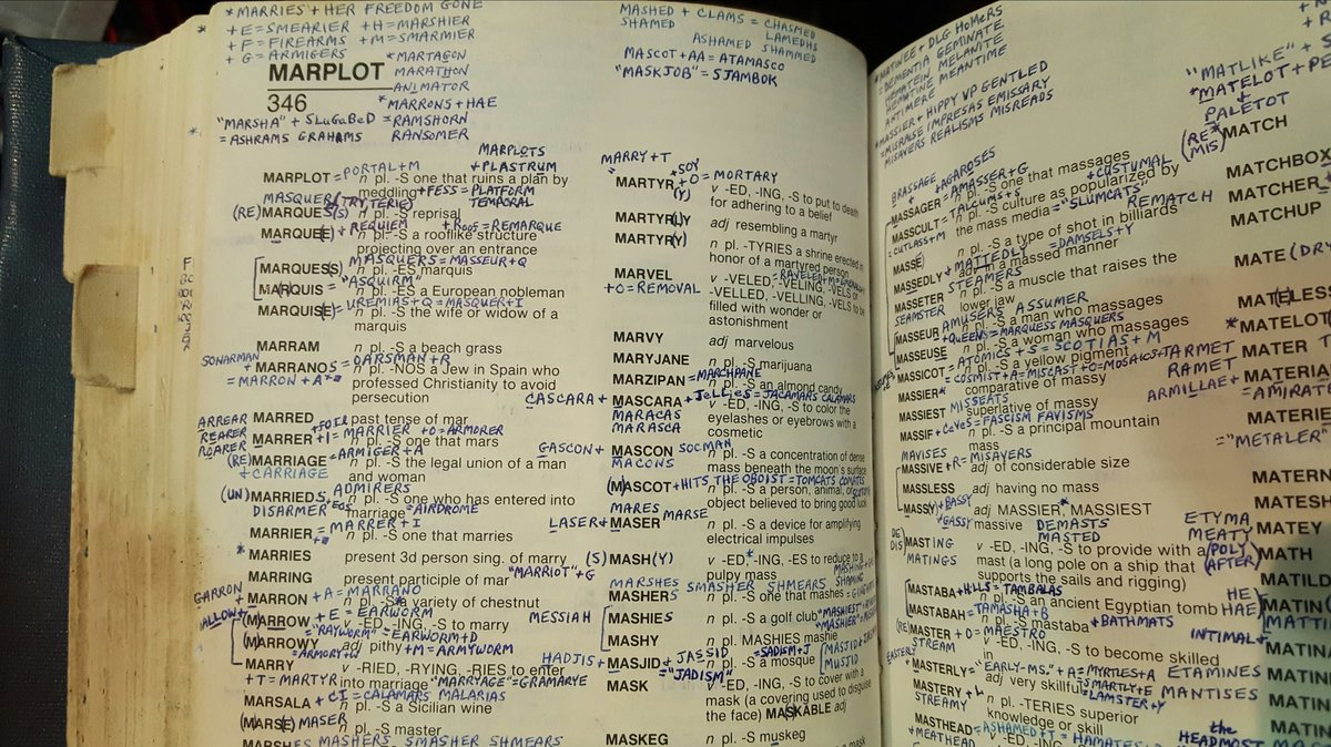 #Scrabble champion David Gibson's astonishing hand annotated Scrabble Dictionary. https://t.co/HLIyIg998Q