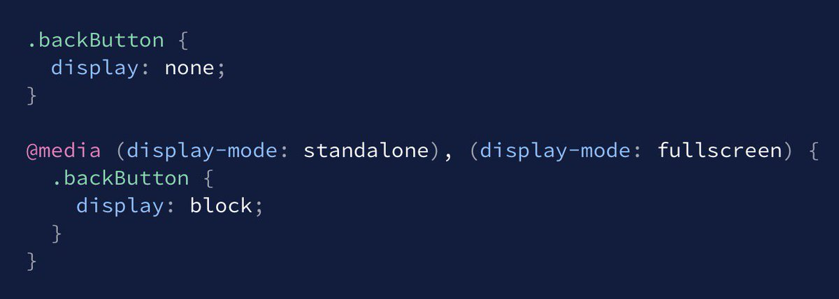 BTW, there is a new display-mode media query which will help with Progressive Web Apps. https://t.co/KW7sAhM8To https://t.co/1HL4nkAbjp