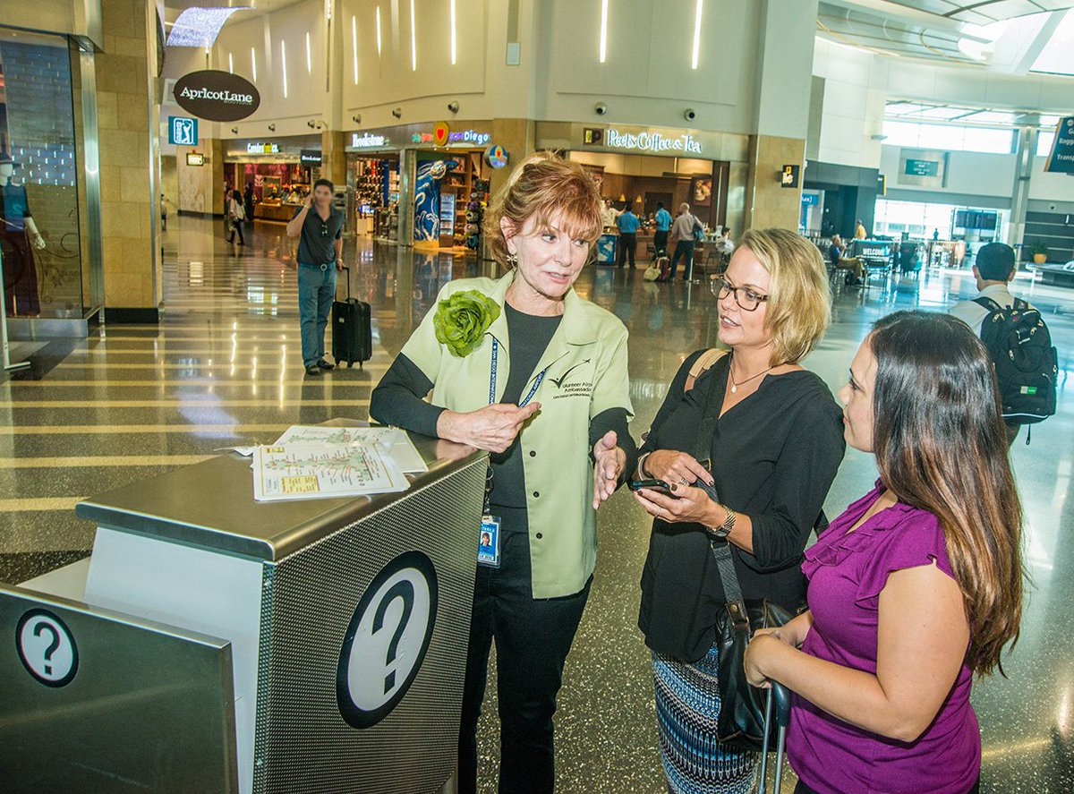 Need assistance while traveling through SAN? Volunteer Airport Ambassadors are here to help:
