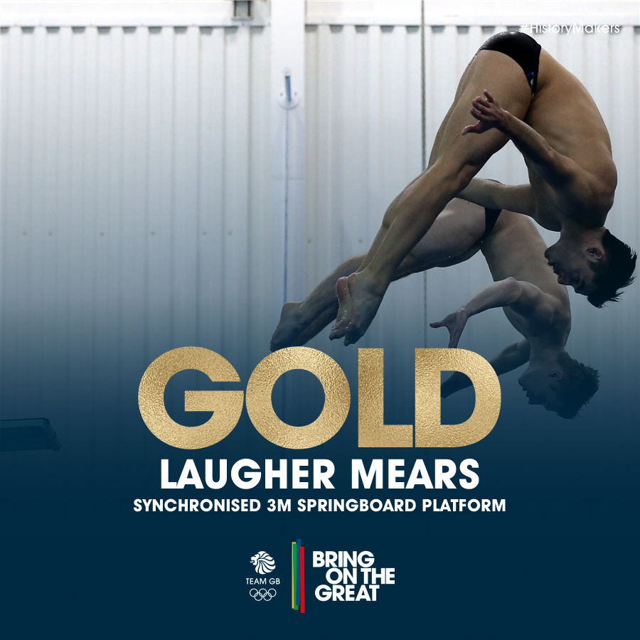 RT @TeamGB: #HistoryMakers! @ChrisMears93 & @JackLaugher claim #GBR's FIRST EVER Olympic #Diving #GOLD #BringOnTheGreat https://t.co/kacK0q…