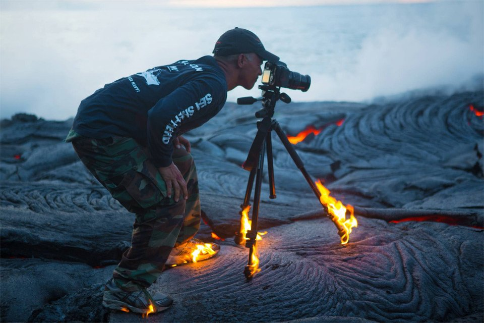 Photographer Without Limits. Taking A Photo On Lava | Photography by ©Chris Hirata https://t.co/fCIvs88Ul9