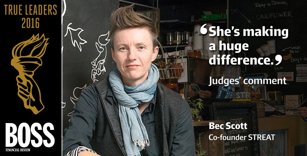 .@STREATmelbourne's @Bec_Scott is one of this year's #BossTrueLeaders. #SocEnt @patrickdurkin https://t.co/NNsOSCqtqB