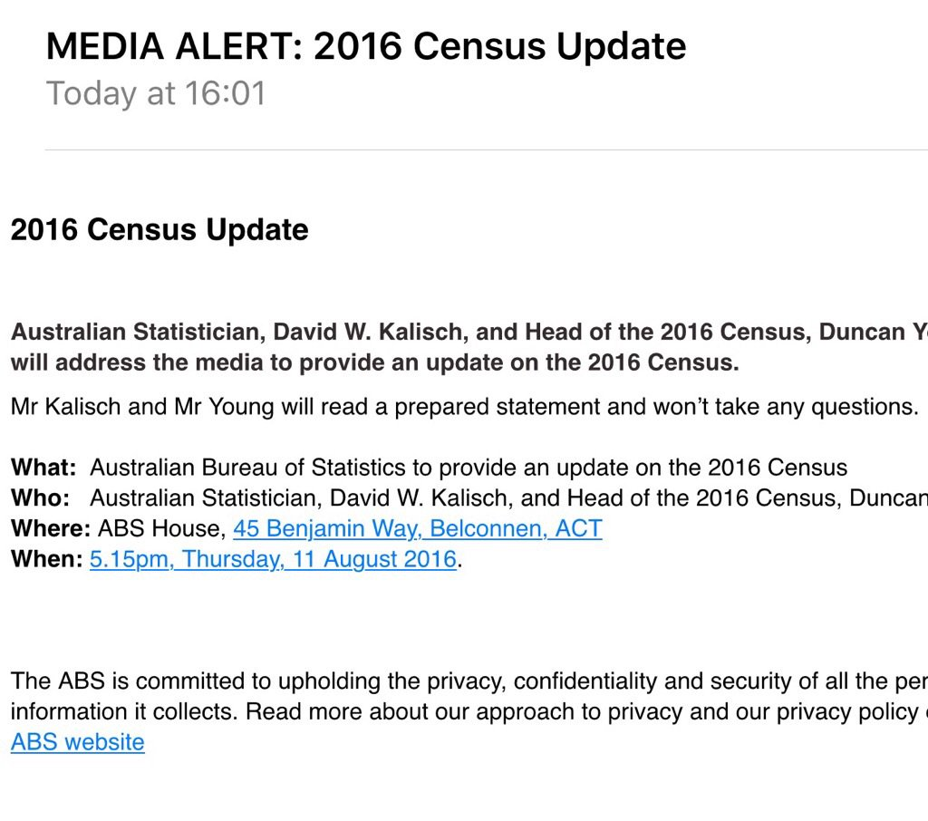 ABS has just overseen biggest #censusfail in Aust. history, and the boss won't answer questions. Can't make this up. https://t.co/UzfaxDQnka