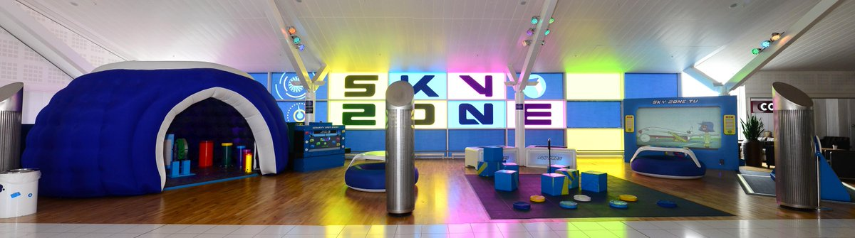 Our interactive play area 'Sky Zone' is ready to keep your kids entertained before you fly >