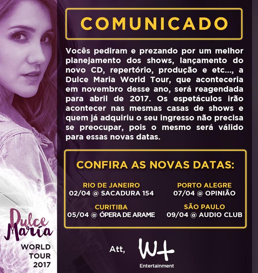 Atenção! O show da @DulceMaria no Opinião foi transferido para o dia 7/4 do ano que vem: https://t.co/vMQlKloqAo https://t.co/03reDe4N0u