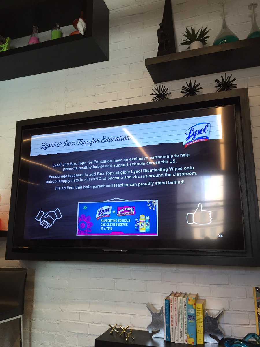 Lysol is the exclusive cleaning product that's part of the Box Top Education program #LysolGermSchool ad https://t.co/Ycrmn01Yuc