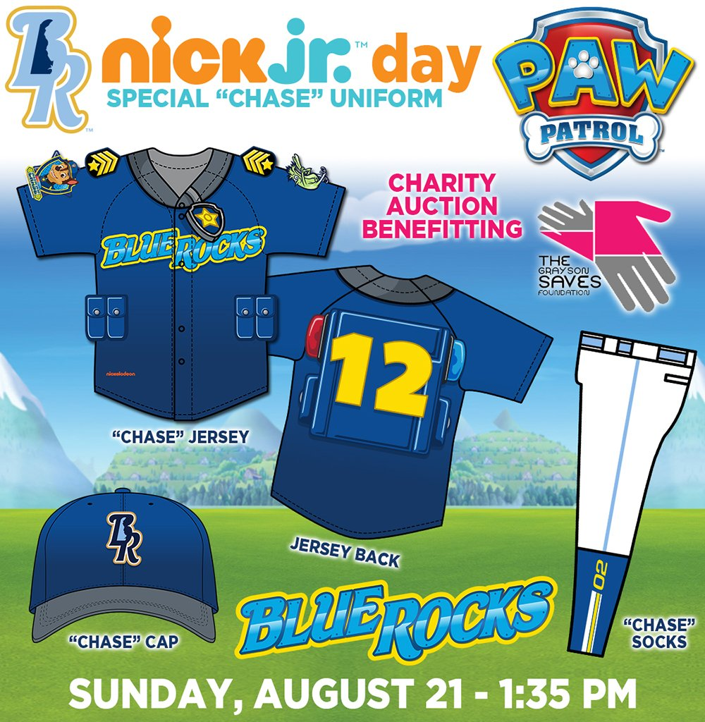 """Bid on game-worn """"Chase"""" Jerseys at Nick Jr. Day. Proceeds benefit @GraysonSavesDe.  RT for chance to win a Jersey! https://t.co/I9TQJCpmBI"""