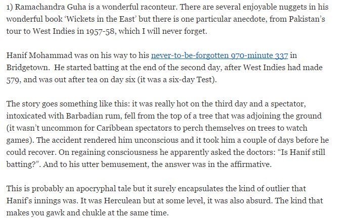 Has to be one of my favorite cricketing anecdotes courtesy @Ram_Guha and @sidvee #RIPHanifMuhammad https://t.co/oKwIJLjFOW