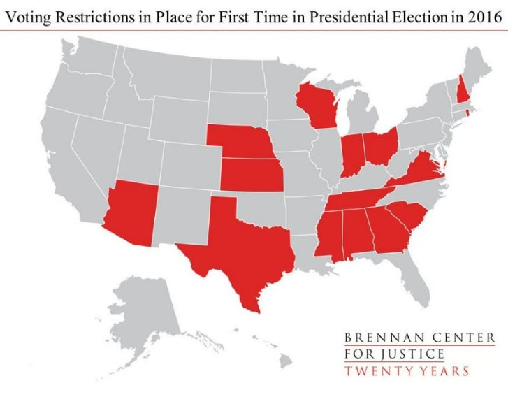 Why #RestoreTheVRA? In 2016, 15 states will have new voting restrictions in place 4 the 1st time in a prez election. https://t.co/7lFZKBs66y