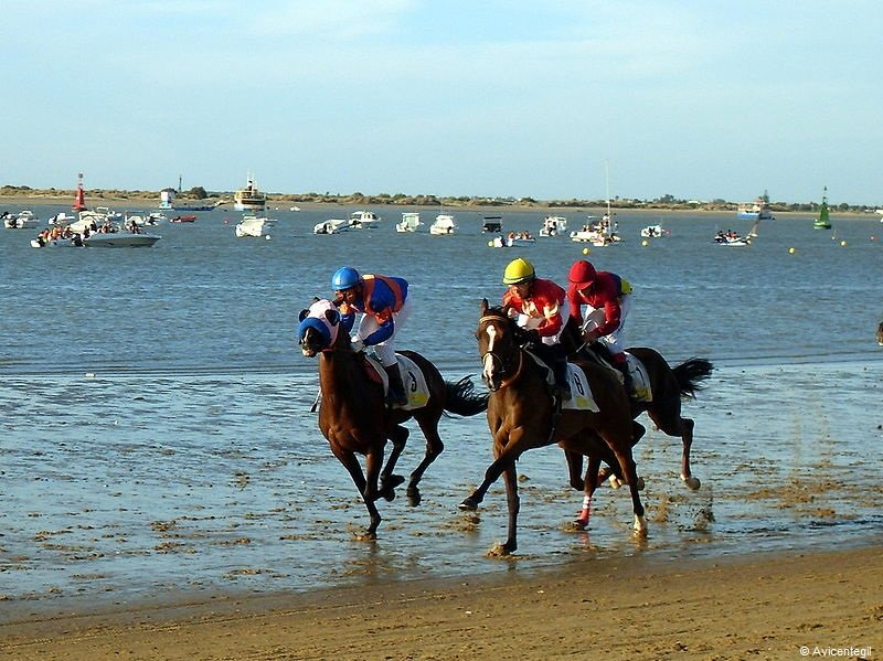 Another annual event in Spain: horses racing on Sanlúcar de Barrameda beach, Cádiz.