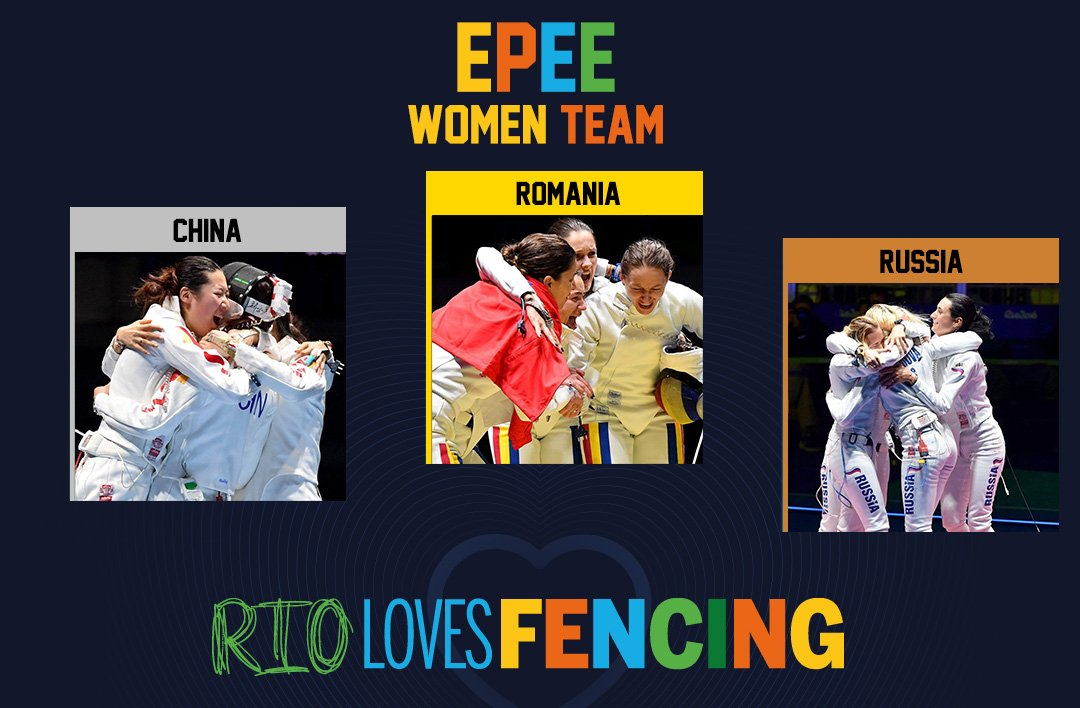Another great #Fencing day! #ROU is the new #Olympics Champion in women's epee team event. Big congrats! #Rio2016 https://t.co/ctoRdK5h7M
