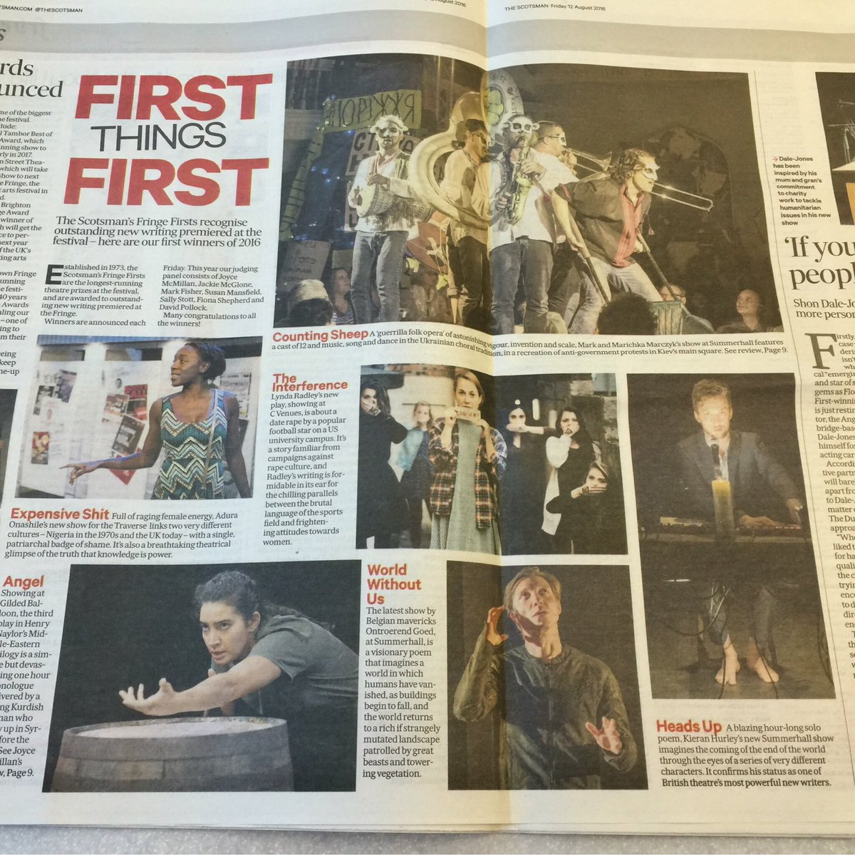 Three of our brilliant shows have won Fringe Firsts! Congrats to Heads Up, Counting Sheep and World Without Us. https://t.co/wlUEcYGPAI