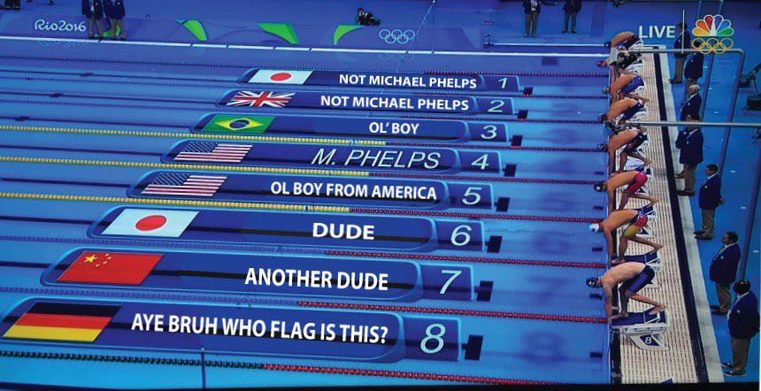 How Americans watch swimming. #Olympics #Rio2016 #Phelps https://t.co/9NM9OiVLBX