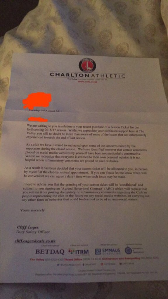 Welcome to the new world of social-media management. It's one thing banning papers, now Charlton are bullying fans. https://t.co/6M70QbJASt