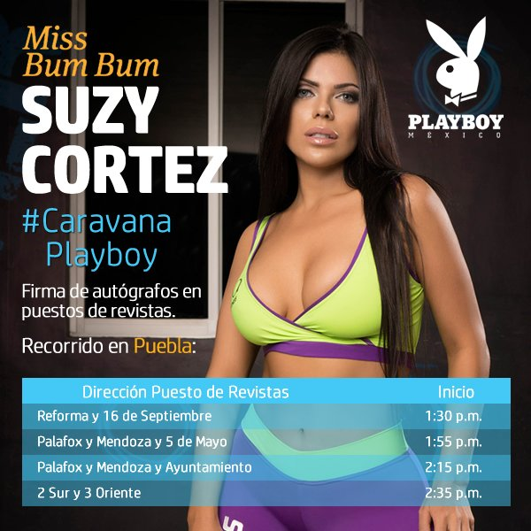RT @PlayboyMX: ¡Amigos de #Puebla! HOY los esperamos en la #CaravanaPlayboy con nuestra hermosa portada @SuzyCortezMiss https://t.co/4XmUaV…