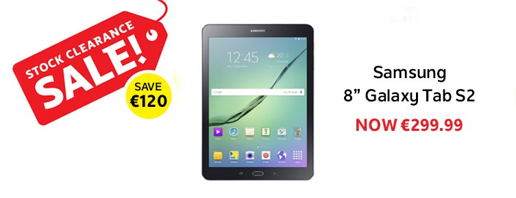 "Save €120 on the 8"" Galaxy Tab S2! Now only €299.99! #Sale https://t.co/76Y9cR3xLY https://t.co/Hb456I1cUp"