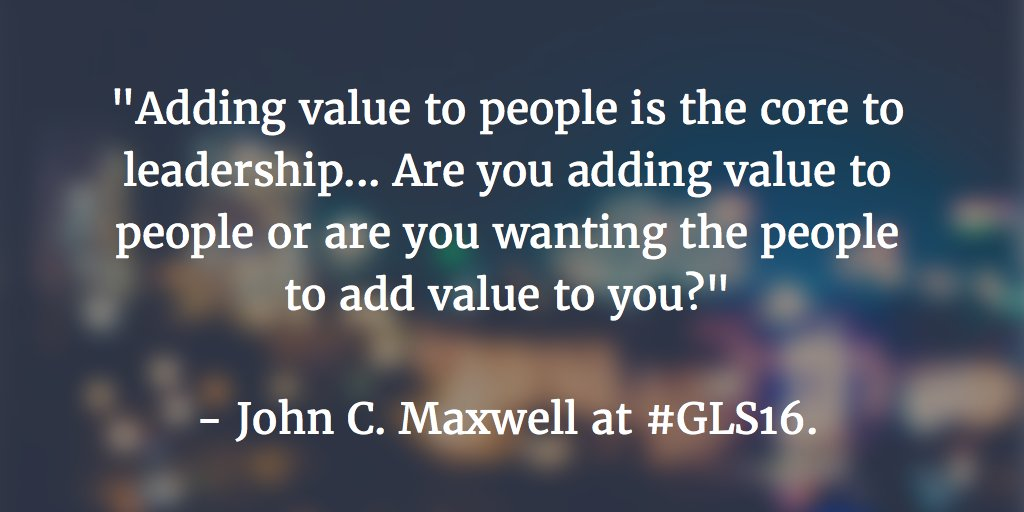 Love this quote on leadership from @JohnCMaxwell at Day 2 of #GLS16. https://t.co/4jQXiSQwZF