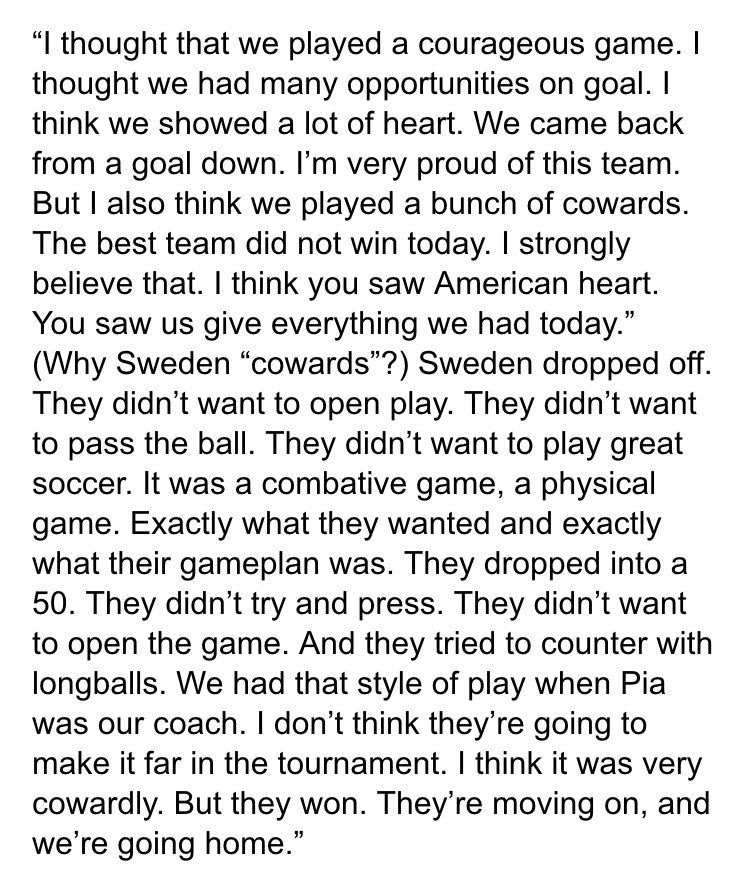 Full Hope Solo quote on Sweden after US was eliminated from the Olympics today. https://t.co/UZVCAeur6m