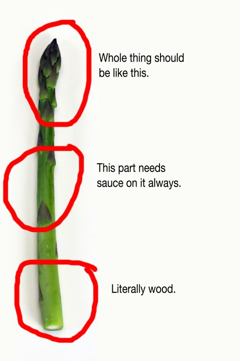 Had some asparagus with lunch and I have notes. If any farmers follow me, listen up. #important https://t.co/tJUsmcIVlt
