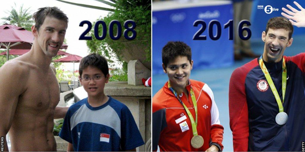 School boy @joschooling meets hero @MichaelPhelps… 8 years later beats him at the #Olympics  https://t.co/FbfSBPcIdr https://t.co/fKrPLIAUNW