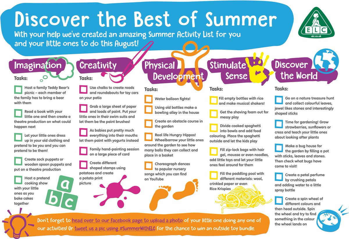 Tweet us a picture of your little one doing an activity from our list using #SummerWithELC for the chance to #win! https://t.co/rm9mPiCbMT