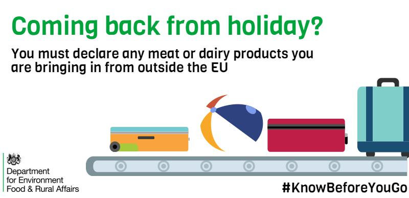 RT @DefraGovUK: Back from holiday? KnowBeforeYouGo what you can bring home from countries outside the EU: https://…