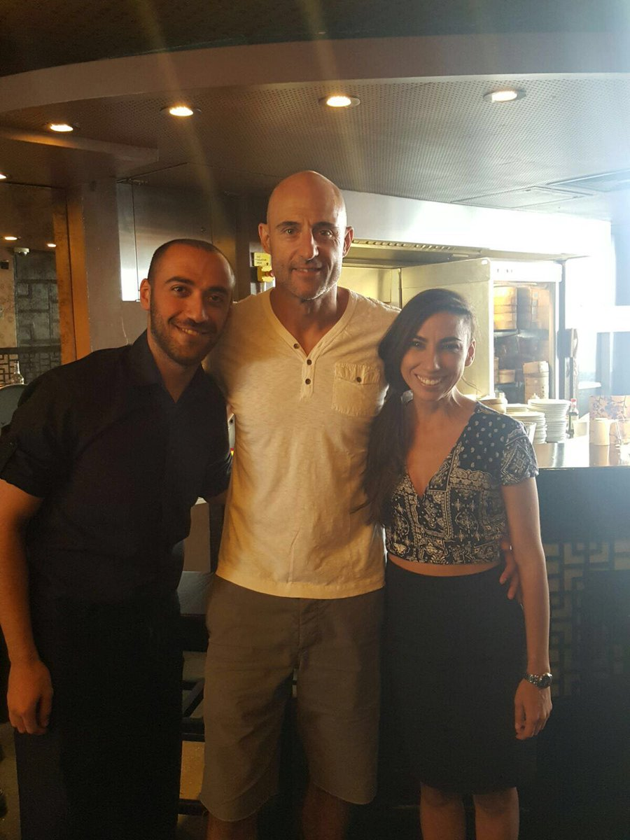 Mark strong paid us a visit at lunchtime today in our Soho restaurant. We had some VERY smiley staff indeed!