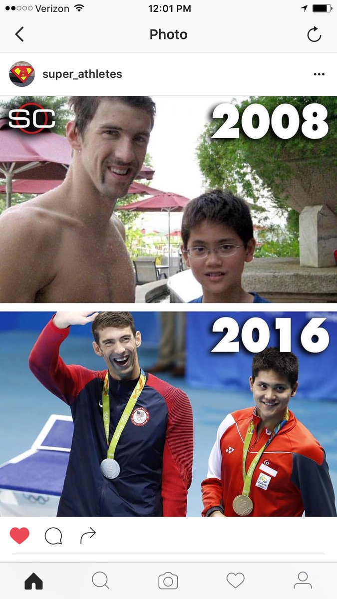 Shooley( Singapore) met his idol( Phelps) in 08..beats his idol in 16 at #RioOlympics2016 #practice to perform https://t.co/4VPrmTfd0h