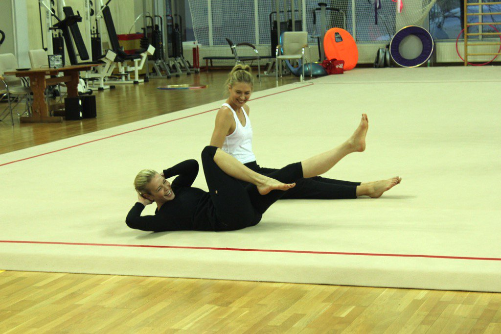 RT @chelseahandler: Here's another pic of @MariaSharapova and I loosening up for gymnastics. New episodes streaming now. @Chelseashow https…