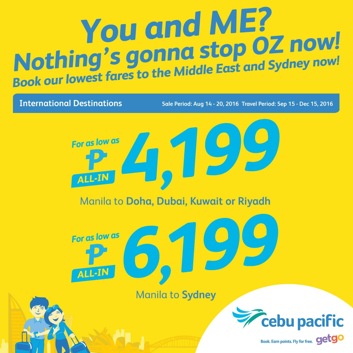 Fly non-stop to the Middle East and Sydney with the new CEBSeatSale! Book now!