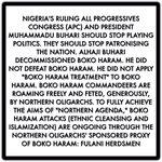 "Nigeria: Buhari did not apply ""BOKO HARAM TREATMENT"" to Boko Haram. https://t.co/T0WAW1JVc0 .@AsoRock .@IBTimesUK https://t.co/sOiz7tMMZp"