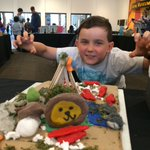 Our #diorama day is underway @RoyalBCMuseum Here is one of our creators jumping into his work! #summercampkids #roar https://t.co/BnfkfcRUDM