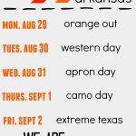 Dont forget about the upcoming spirit days for Texas vs Arkansas!!! #texastakeover #letsgoTIGERS https://t.co/5nzXCqkpgE