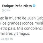 El presidente de México Enrique Peña Nieto, lamenta la muerte del cantante #JuanGabriel. https://t.co/8JyuzfHqOD
