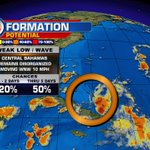 Chances for development continue to go down for the weak low across the Central Bahamas. @wsvn #Miami https://t.co/6gStirkDEw