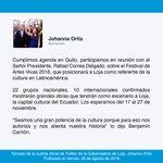 """""""Participamos en reunión con Señor Presidente @MashiRafael sobre el Festival de Artes Vivas 2016"""", @johaortizv https://t.co/8ctC9IFTR9"""