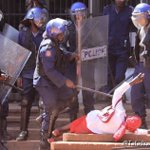 Please spare a thought for this woman being assaulted by  7+ Zimbabwe Republic Policeman #NERAdemo #Harare 👇🏿 https://t.co/oVM3MHuGWn