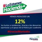 #GraciasManizales por denuncias y apoyo de @PoliciaMzales hemos reducido hurtos a residencias un 12% @jcardonaleon https://t.co/kIuMvHIaNz